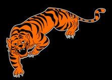 Tigervektor-Tätowierungsdesign auf schwarzem Hintergrund Stockfoto