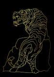 Tigervektor-Tätowierungsdesign auf schwarzem Hintergrund Stockfotos