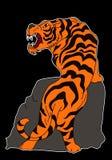 Tigervektor-Tätowierungsdesign auf schwarzem Hintergrund Lizenzfreies Stockbild