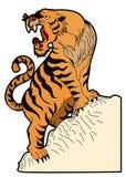 Tigervektor-Tätowierungsdesign auf weißem Hintergrund Lizenzfreies Stockbild