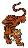 Tigervektor-Tätowierungsdesign auf weißem Hintergrund Stockfotografie