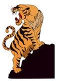 Tigervektor-Tätowierungsdesign auf weißem Hintergrund Stockfoto