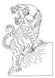 Tigervektor-Tätowierungsdesign auf weißem Hintergrund Lizenzfreie Stockfotos