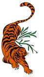 Tigervektor-Tätowierungsdesign auf weißem Hintergrund Stockfotos