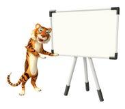 Tigerzeichentrickfilm-figur mit Schaukasten vektor abbildung