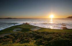 Tiges de golf de Pebble Beach, calif Photos stock