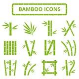 Tiges et icônes en bambou de vecteur de feuilles Usines asiatiques de zen de bambu d'isolement sur le fond blanc Photo libre de droits