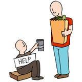 Tiggare Asking för pengar från kund vektor illustrationer
