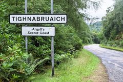 Tighnabruaich village welcome sign Argyll & Bute secret coast Cowal peninsula. Scotland uk royalty free stock images