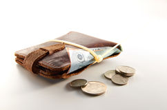 Tight Budget. Wallet and money tight with cable tight Royalty Free Stock Image