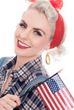 Tight close shot of excited retro woman celebrating 4th July wit Stock Photos