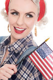 Tight Close Shot Of Excited Retro Woman Celebrating 4th July Wit Royalty Free Stock Photography