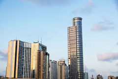 Downtown Buildings Cluster. Tight cluster of office buildings and skyscrapers of the Ramat-Gan downtown district (bordering Tel-Aviv) featuring the Israeli Royalty Free Stock Images