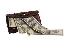 Tight-filled purse. Purse with cash isolated over white background Royalty Free Stock Image