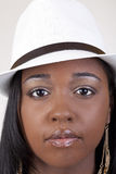 Tight Head Shot Young Black Woman Hat Stock Photos