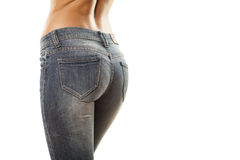 Tight jeans. Pretty woman's buttocks in tight jeans Royalty Free Stock Photo