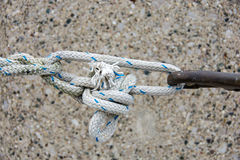 Tight knot with frayed rope Stock Photos