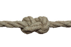 Tight knot on the old rope. Royalty Free Stock Image