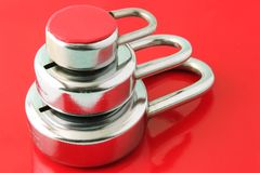 Tight Security. Three layers of security depicted with three padlocks on a red background royalty free stock image