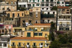 Tight shot of the buildings of Amalfi, a town in the province of Salerno, in the region of Campania, Italy, on the Gulf of Salerno Royalty Free Stock Photos
