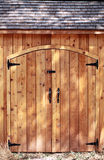 Tight shot closed doors cedar wood shed Stock Image