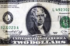 United States Two Dollar Bill Detail Jefferson Portrait Stock Photography