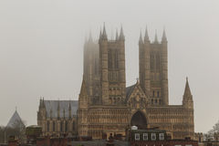 Tight view of Lincoln Cathedral in the fog, England. Royalty Free Stock Photos
