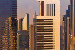 A tight view of some skyscrapers and a city skyline of Dubai, UAE. With beautiful architectural details Stock Photos