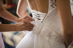 Tighten Wedding Dress Stock Photo
