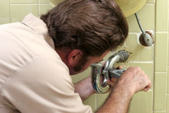 Tightening Plumbing Pipe Stock Images