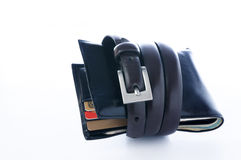 Tightening of wallet with a belt Royalty Free Stock Photography