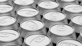 Tightly Packed Array of Aluminum Cans Royalty Free Stock Image