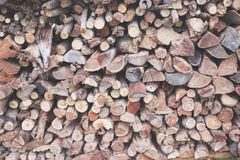 Tightly Packed Woodpile - Lots of Logs stock photos