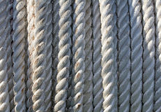 Tightly twisted rope. Background of twisted synthetic rope Stock Photos