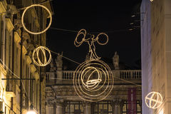 The tightrope on the circle of light in Turin Stock Photos