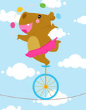 Tightrope hippo. Illustration of cute tightrope hippo Stock Photo