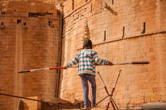 Tightrope Stunt in Jaisalmer Royalty Free Stock Images
