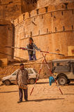 Tightrope Stunt in Jaisalmer Stock Photos