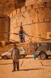 Tightrope Stunt in Jaisalmer Stock Photos