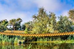 Tightrope sur un fond des arbres et de l'eau Scène horizontale o Photo libre de droits