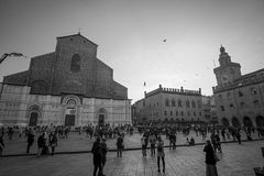 Tightrope walk over to Piazza Maggiore in Bologna, Italy Stock Image