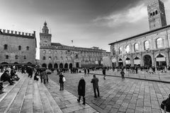 Tightrope walk over to Piazza Maggiore in Bologna, Italy Royalty Free Stock Photography