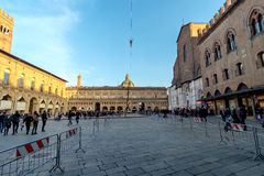 Tightrope walk over to Piazza Maggiore in Bologna, Italy Royalty Free Stock Images