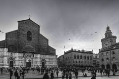 Tightrope walk over to Piazza Maggiore in Bologna, Italy Royalty Free Stock Photos