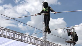 Tightrope Walker with a Blindfold stock footage