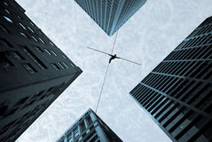 Tightrope walker concept of risk taking and challenge. Highline walker balancing on the rope concept of risk taking and challenge Stock Image