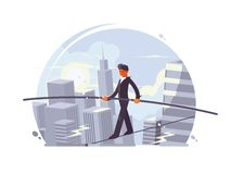 Tightrope walker going on rope Royalty Free Stock Images