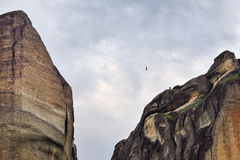 Tightrope walker in Meteora, Greece Royalty Free Stock Images