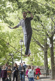 Tightrope walker performs at the Basilica Sakre- Coeur in Montma Stock Photography