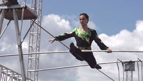 Tightrope Walker on the Rope stock video footage